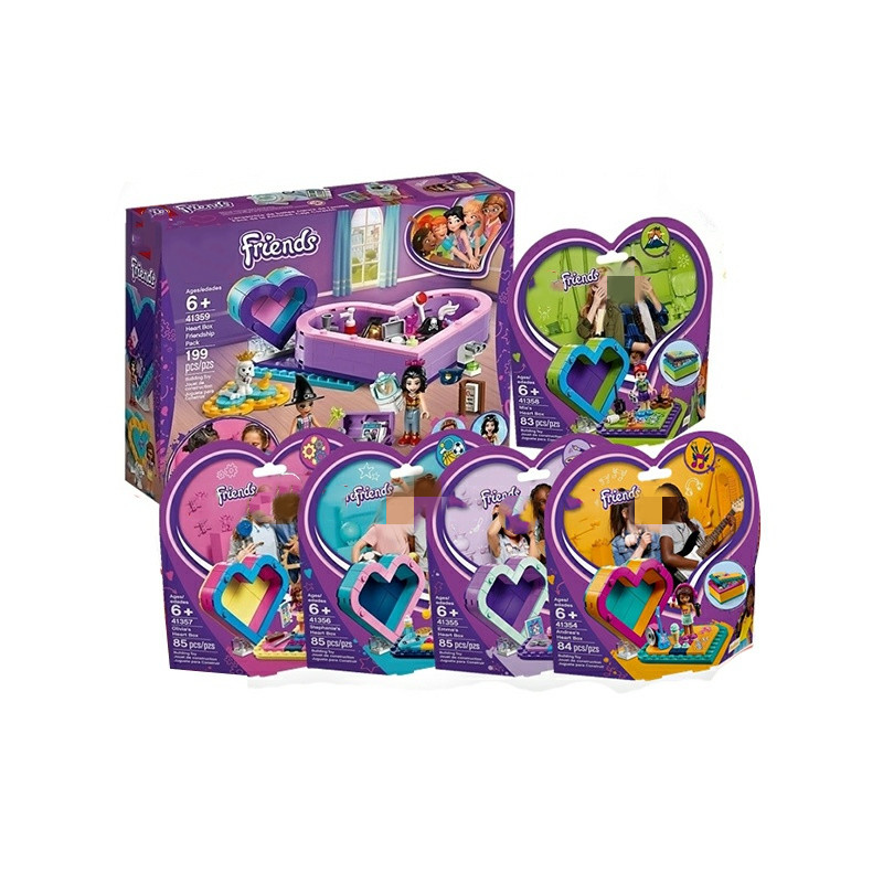 2019 New Girl Friends Are Compatible With Legoingliy 41354 41355 41356 41357 41358 Love Heart Treasure Box Building Blocks Toys