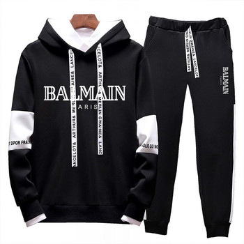 Men's brand printed fashion sportswear suit men's hooded sportswear two-piece suit + 2020 spring new casual running sportswear spring and autumn new men s suit sportswear zipper pocket casual sportswear running fitness men s brand suit