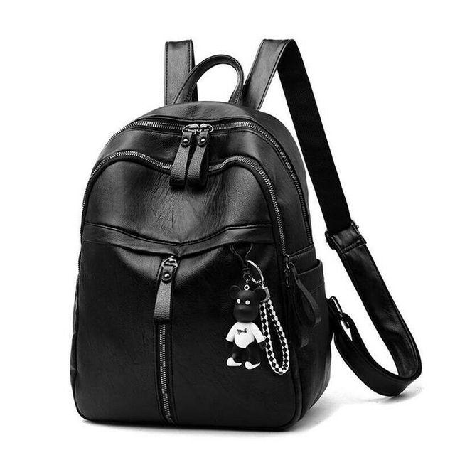 حقيبة ظهر نسائية من الجلد الصناعي على الموضة حقائب ظهر سوداء للسيدات أكياس بسحاب حقيبة ظهر صلبة للطلاب للبنات مع قلادة تحمل على شكل دب 4
