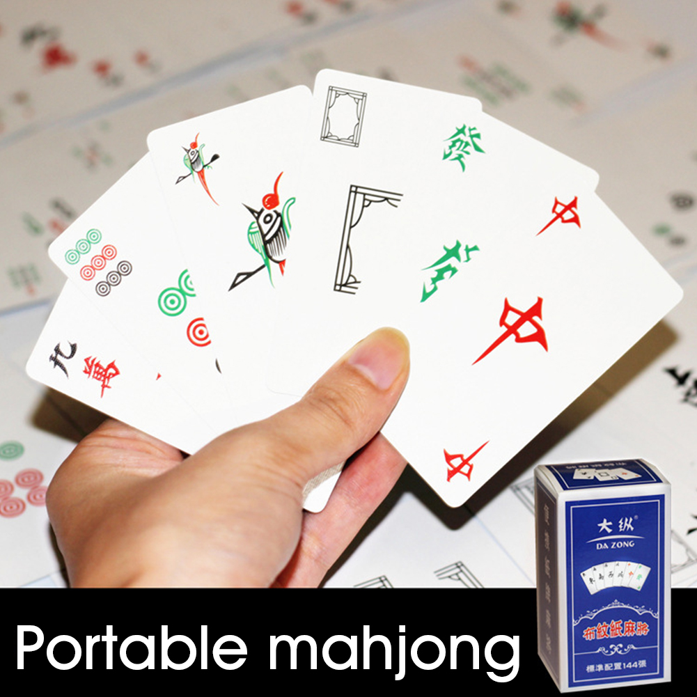 144sheets/set Mini Portable Silent Poker Paper Travel Mahjong Card Vacation Party Entertainment Board Game Home Dormitory