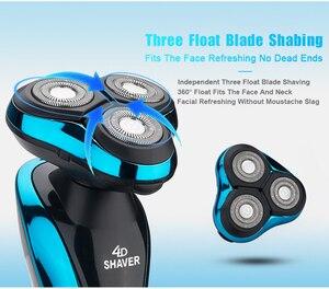 Image 3 - 4D電気カミソリシェーバー髭鼻トリマーbarbeadorトリマー機シェービング男性のための充電式ウェットドライ防水