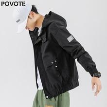 POVOTE men's coat Korean Trend handsome trend brand loose casual jacket hip hop Hooded Coat trend design