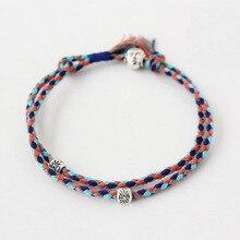 Braided Bracelet Adjustable Double-Layers Buddha-Head Handmade Tibetan Silver Lucky-Rope