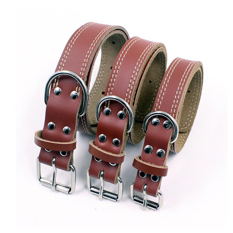 Pet Dog Collar Cowhide Leather S-M-L Small Medium  Large Supplies accessories