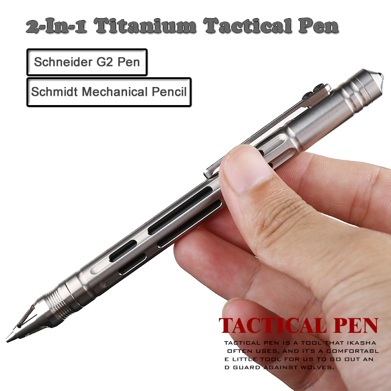 2-In-1 Titanium Tactical Pen Pencil Gel Ink Pen Self Defense Glass Breaker Outdoor Survival EDC Tool Collection Gift