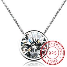 925 Sterling Sliver Round Zircon Pendant Necklace For Women Gift 45cm Water-wave Chain Choker Collares Kolye S-n96