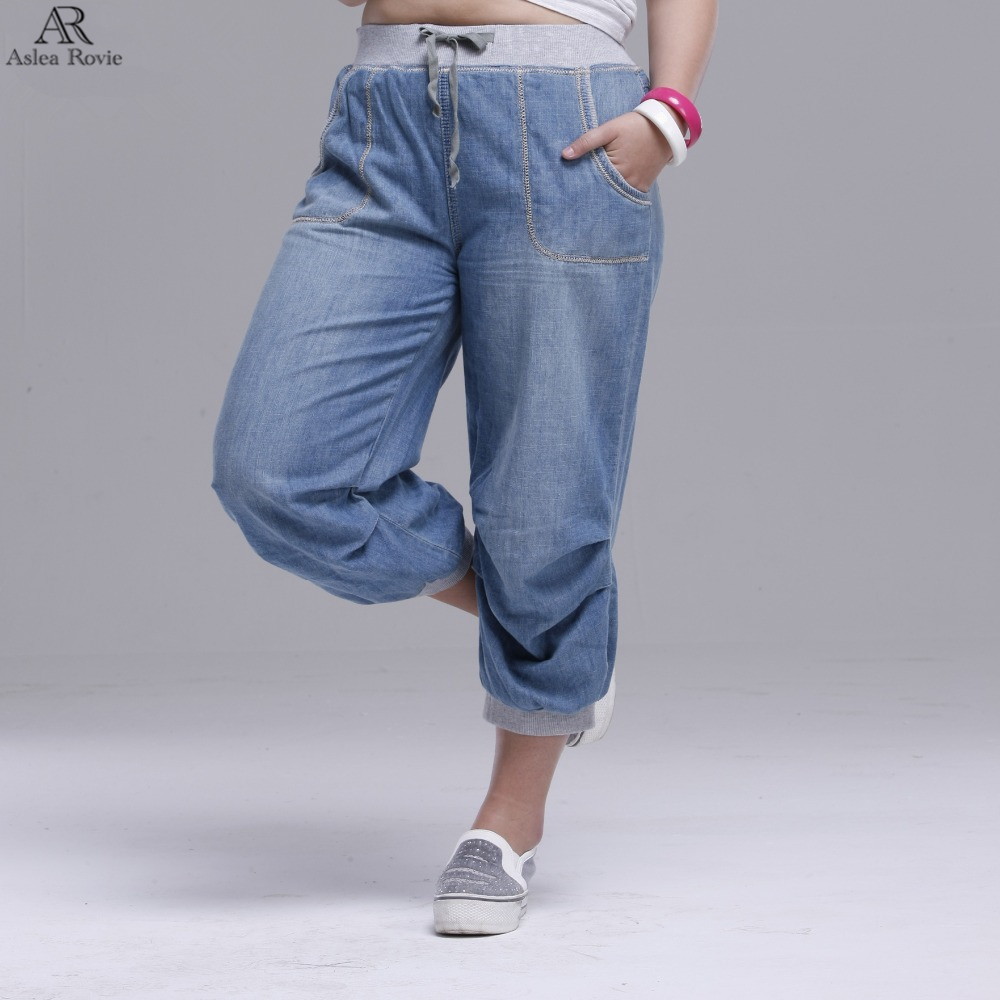 2019 Summer Women Jeans  Harem Pants Plus Size Loose Trousers For Women Denim Pants Capris   6XL