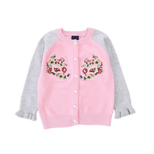 2019 Girl Cardigan Kids Autumn and Winter Embroidery Flower Sweater Children's Cotton Single-breasted Sweaters Clothes цена 2017