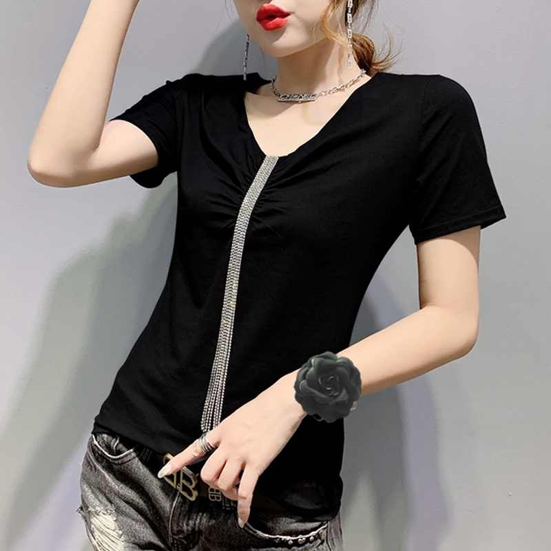 2020 Summer Korean Clothes Sexy Diamonds Tassel T-shirt Women Cotton Short Sleeve Tops Ropa Mujer Bottoming Shirt Tees T02415