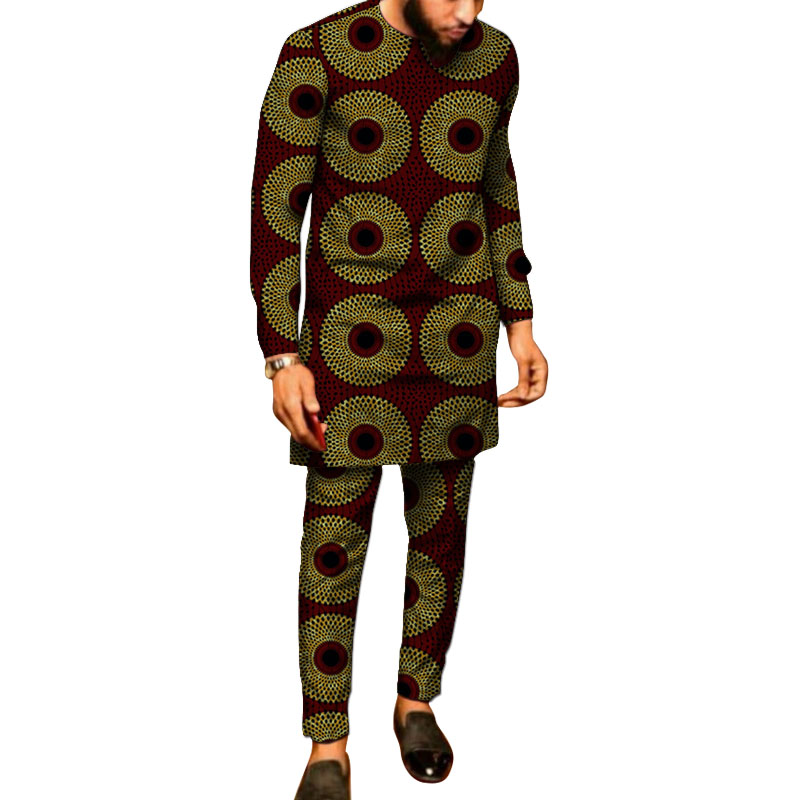 African Clothes Men's Print Set Shirt With Trouser Ankara Pant Sets Custom Made Groom Suits Male Dashiki Party Outfits