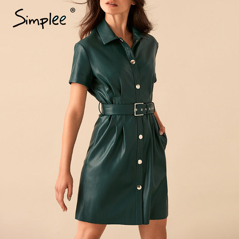 Simplee Streetwear PU Leather Women Dress Single Breasted Belt High Waist Plus Size Dress Spring Ladies Solid Faux Bodycon Dress