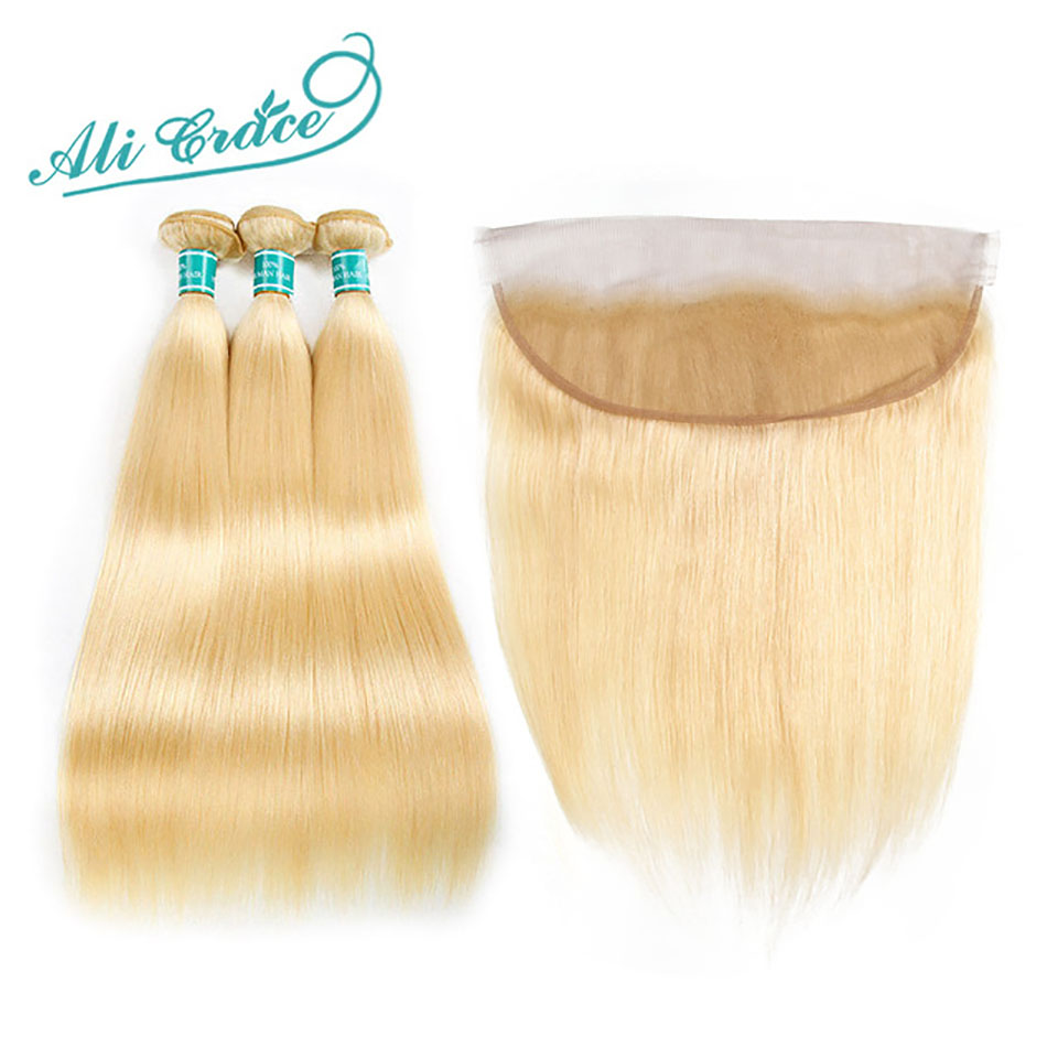 Ali Grace Hair Blonde Bundles With Frontal 13*4 Ear To Ear Remy Blonde Brazilian Straight Hair 613 Blonde Bundles With Closure