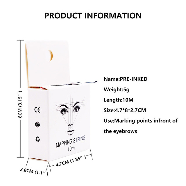 10m Eyebrow Pencil Marking Line Microblading Mapping String Pre-Inked Eyebrow Marker Thread Tattoo Brows Point Line Tool 5