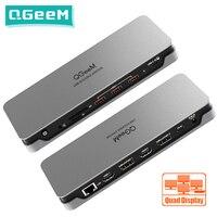 QGeeM 14-IN-1 USB Hub 3.1 Dockingstation 4K Vierfachanzeige für Macbook Pro Air 2020 Xiaomi Laptops Chromebook USB Typ C Hub Splitter 3xUSB3.1 2xHDMI 2xDP RJ45 SD / TF Kartenleser Audio PD Dock OTG Adapter PC-Zubehör