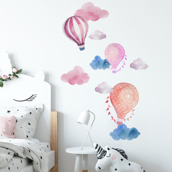 Cartoon hot air balloon cloud wall sticker for kids rooms decoration mural bedroom home decor decals nursery stickers wallpaper - discount item  22% OFF Home Decor