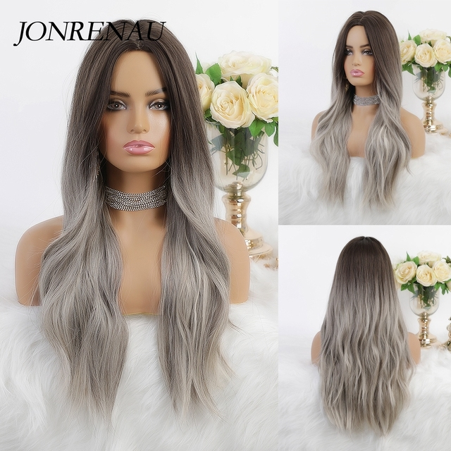 JONRENAU 24 Inches Ombre Brown Long Synthetic Natural Wave Hair Wigs Heat Resistant Hair Wigs for Black Women