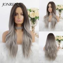 JONRENAU 24 Zoll Ombre Braun Lange Synthetische Natürliche Welle Haar Perücken Hitze Beständig Haar Perücken für Schwarze Frauen