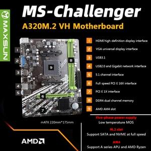 Image 2 - MAXSUN Motherboard AM4 A320M VH M.2 Challenger AMD ddr4 memory slots Rams nmve m.2 sata iii ssd HDMI+VGA mainboard for desktop