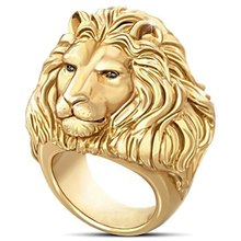 1 PC Domineering African Lion Ring Men 18K Gold Plated Ring Hip Hop Rock Animal Ring Fashion Jewelry Dropship New Arrival(China)