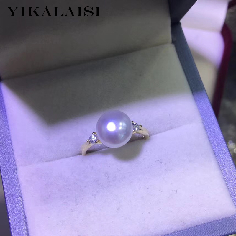 YIKALAISI 925 Sterling Silver Jewelry Oblate Pearl Rings 2020 Fine Natural Pearl Jewelry 8-9mm Rings For Women Wholesale