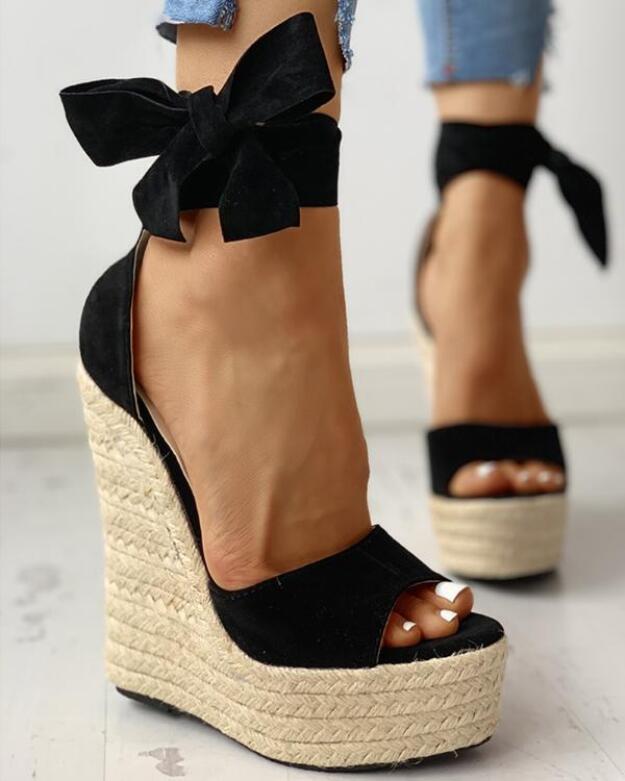 Womens Wedges Sandals Summer High Platform Elastic Band Sandal Casual Open Toe Slingback Ankle Strap Shoes