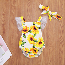 2020 Summer Newborn Baby Girl Clothes Fly Sleeve Sunflower Print Romper Jumpsuit One-Piece Outfit Sunsuit Summer Clothes
