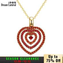 Dreamcarnival 1989 Orange Crystal Dua Hati Liontin Kalung Kalung Rhodium Warna Emas Valentine Hadiah Super Sale 18N1015(China)