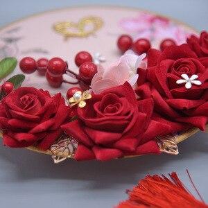 Image 4 - Kyunovia Blush Pink Bridesmaids Rose Gold Bouquet Wine Burgundy Berry Bridal Bouquet Wedding Bouquet Flowers D151