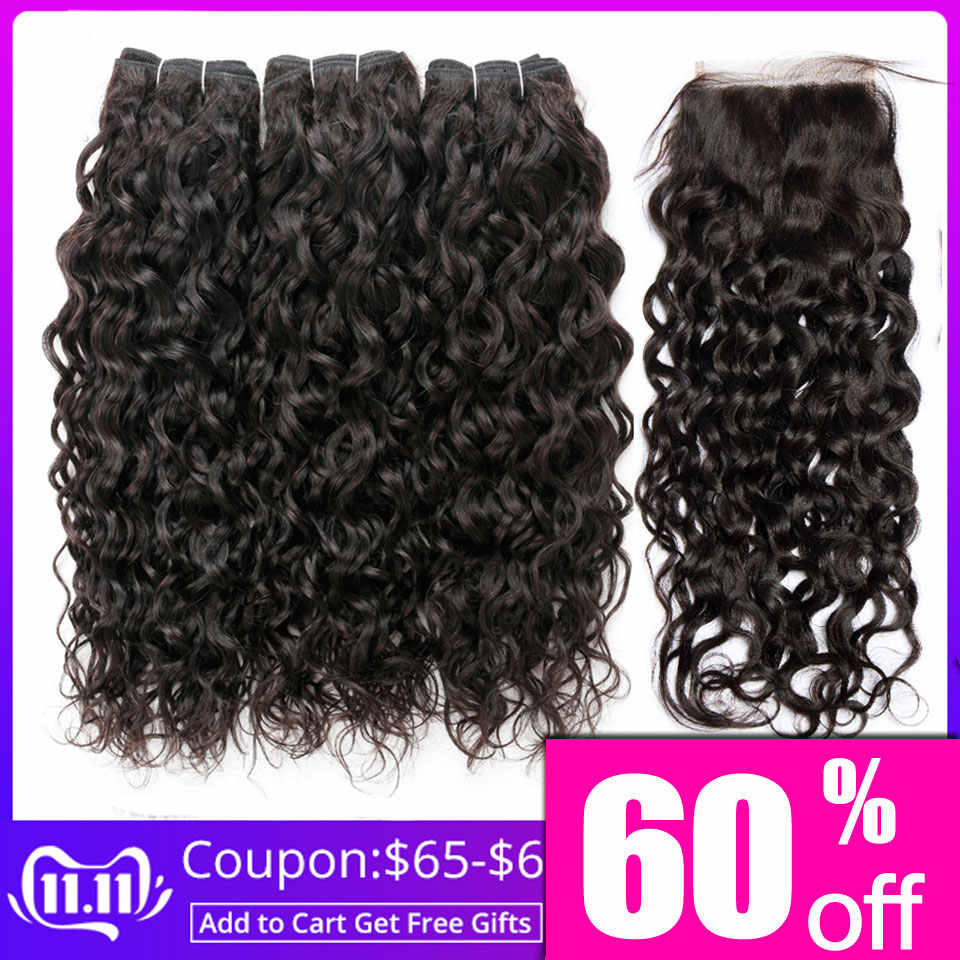 Brazilian hair weave water wave bundles with lace closure 100% human hair 3 bundles with closure non-remy lanqi