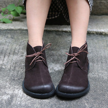Original Handmade Genuine Leather Women Boots Large Toe Cowhide Lace-up Low Heels Ankle Boots Retro Comfortable Mothers Shoes цена 2017