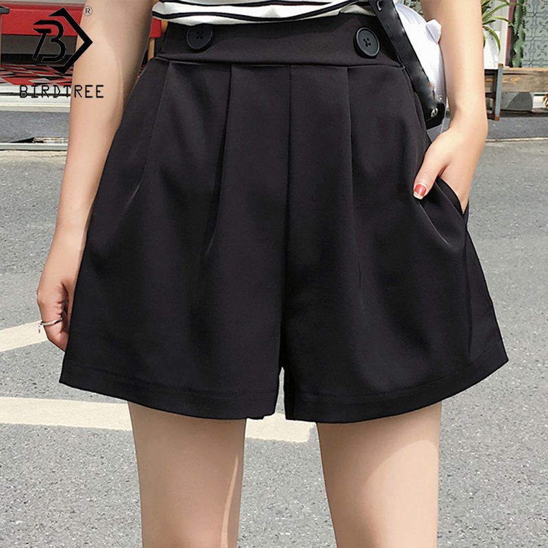 2020 Spring And Summer New Women's Fashion Shorts Elastic Waist Loose Wide-legged Shorts Casual Female Bottoms B9D508K