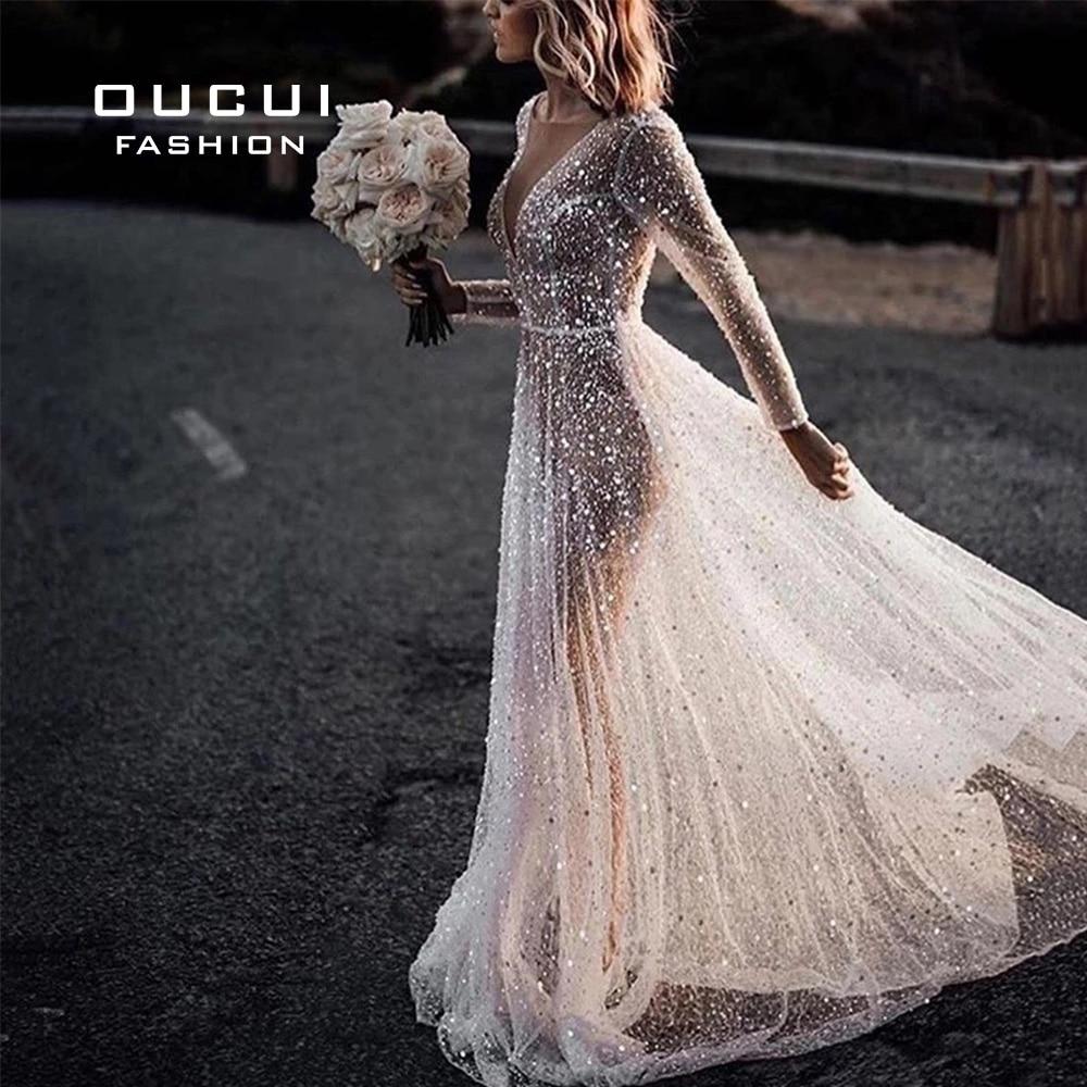 Beach Women's Elegant Wedding Dress 2019 Illusion Crystal Long Sleeves Bridal Gowns Shimmer Bling Bling Robe De Mariee OL103681