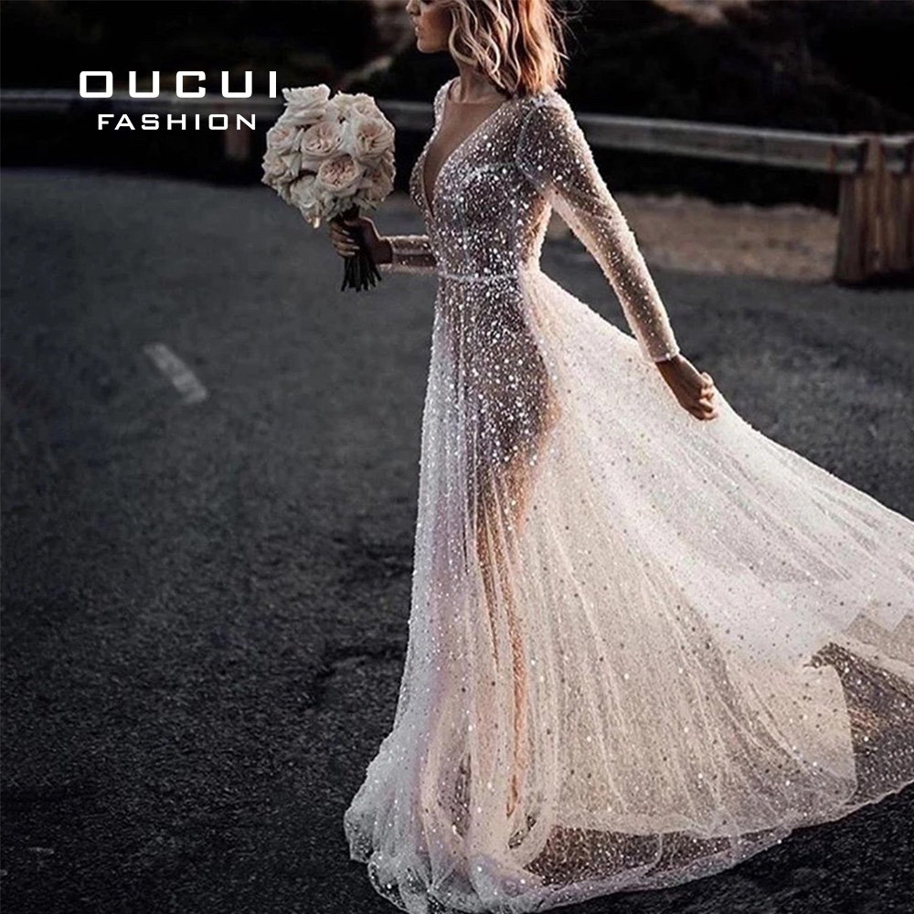 Oucui Beach Elegant Wedding Dress 2020 Illusion Crystal Long Sleeves Bridal Gowns Shimmer Bling Bling Robe De Mariee OL103681