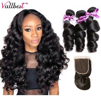 Волнистые пряди Vallbest с закрытием, 3 пряди с кружевом, бразильские волнистые пряди для наращивания волос Remy
