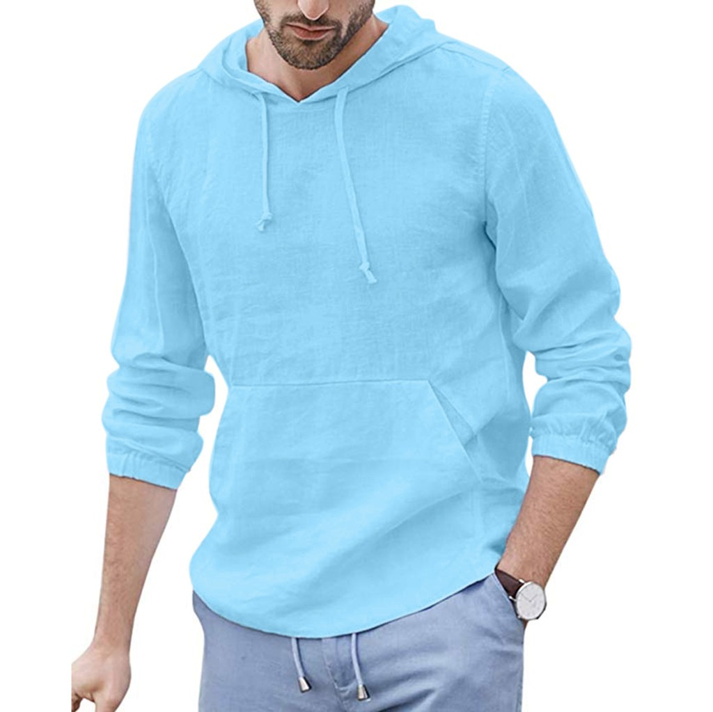 Feitong Long Sleeve Shirt Men's Baggy Cotton Linen Hooded Pocket Solid Retro Shirts Tops