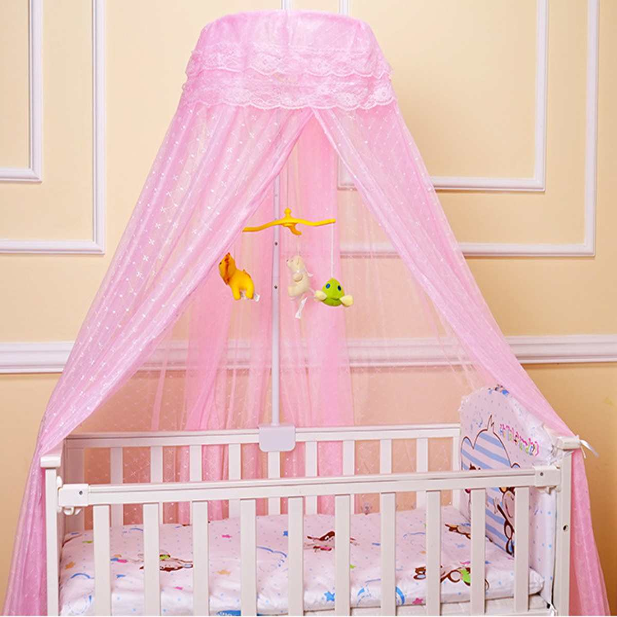 Baby Netting Canopy Infant Mosquito Net Insect Mosquito Net for Crib Bed Canopy Mosquito Netting Crib Canopy With Iron Stand