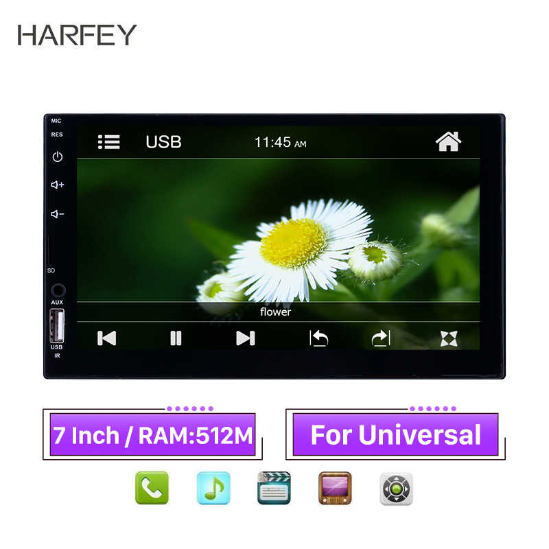 "Harfey Mobil Universal MP5 Player Stereo 2Din Android 7 ""Bluetooth Multimedia Player HD Layar Sentuh Video Auto Radio Ulasan Kamera"
