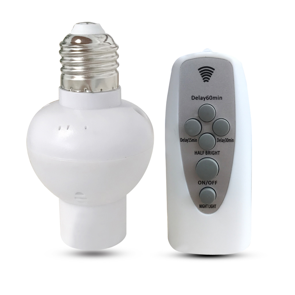 Wireless Remote Control Lamp Holder Dimmable  E27 Socket 220V Bulb LED Night Light With Timer