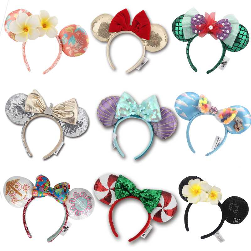 NEW Minnie Mickey Sequin Purple Aulani Gold Flower DOT Ariel EARS COSTUME Christmas Headband Cosplay Plush Gift 24 Styles