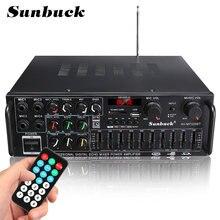 Sunbuck bluetooth canal 4000w amplificador de alta fidelidade de potência áudio 326bt 12v/220v av amp alto-falante com controle remoto para casa do carro