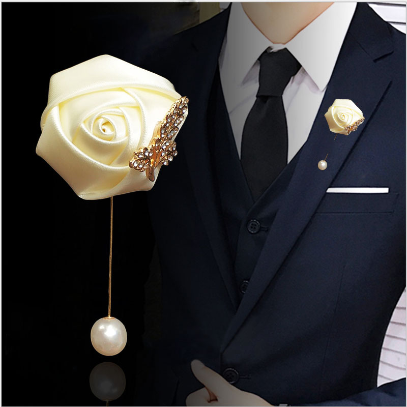 LKY Fr Boutonniere Brooch Corsage Pins For Women Men Red Wedding Buttonhole Boutonniere Groomsmen Prom Suit Marriage Accessories