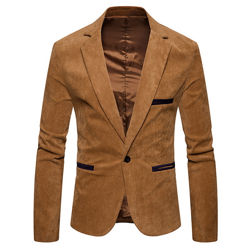 NEGIZBER 2020 New Brand Men's Suit Jackets Solid Slim Fit Single Button Dress Suits Men Fashion Casual Corduroy Blazer Men