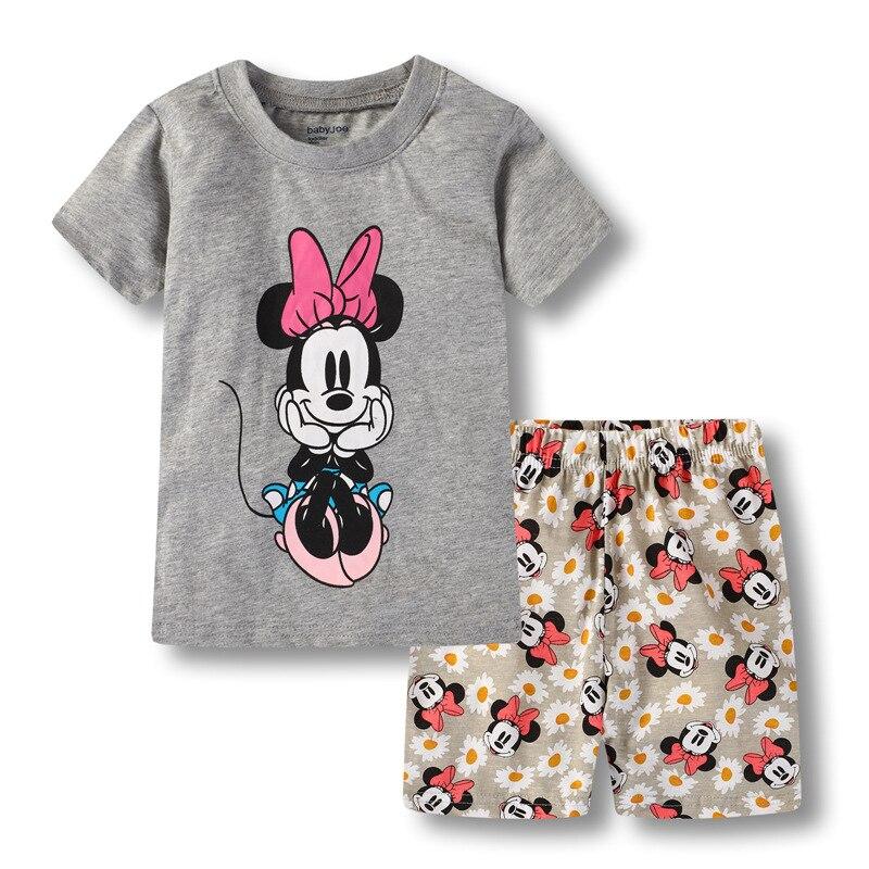 New Kids Boys Girls Clothes Baby Princess Pajamas Summer Short Sleeved Set Cartoon Minnie Children's Sleepwear 6