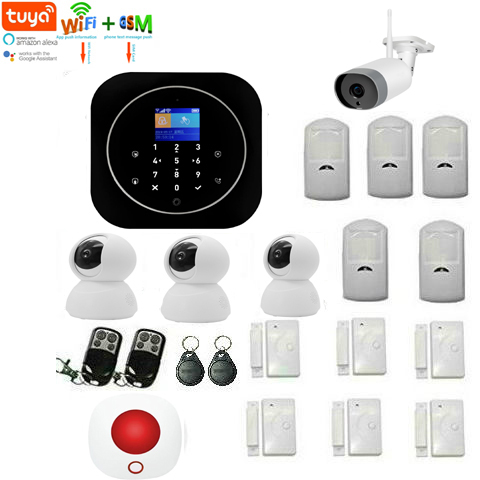 Yobang Security Wifi GSM Alarm System Home RFID Burglar Security Tuya APP LCD Touch Keyboard Wireless Sensor With Tuya Camera