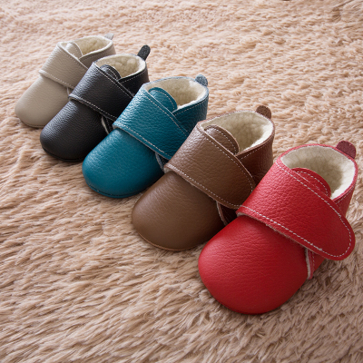 Toddler Shoes Prewalk Rubber-Bottom Soft Baby Winter Genuine-Leather Warm Wool Bending