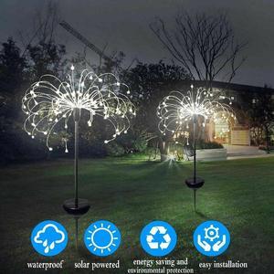 2/4 шт. 90/120/150 светодиодов, гирлянда на солнечной батарее, Звездный взрыв, освещение для работы, сада, Рождественская лампа, для улицы, вечерние...