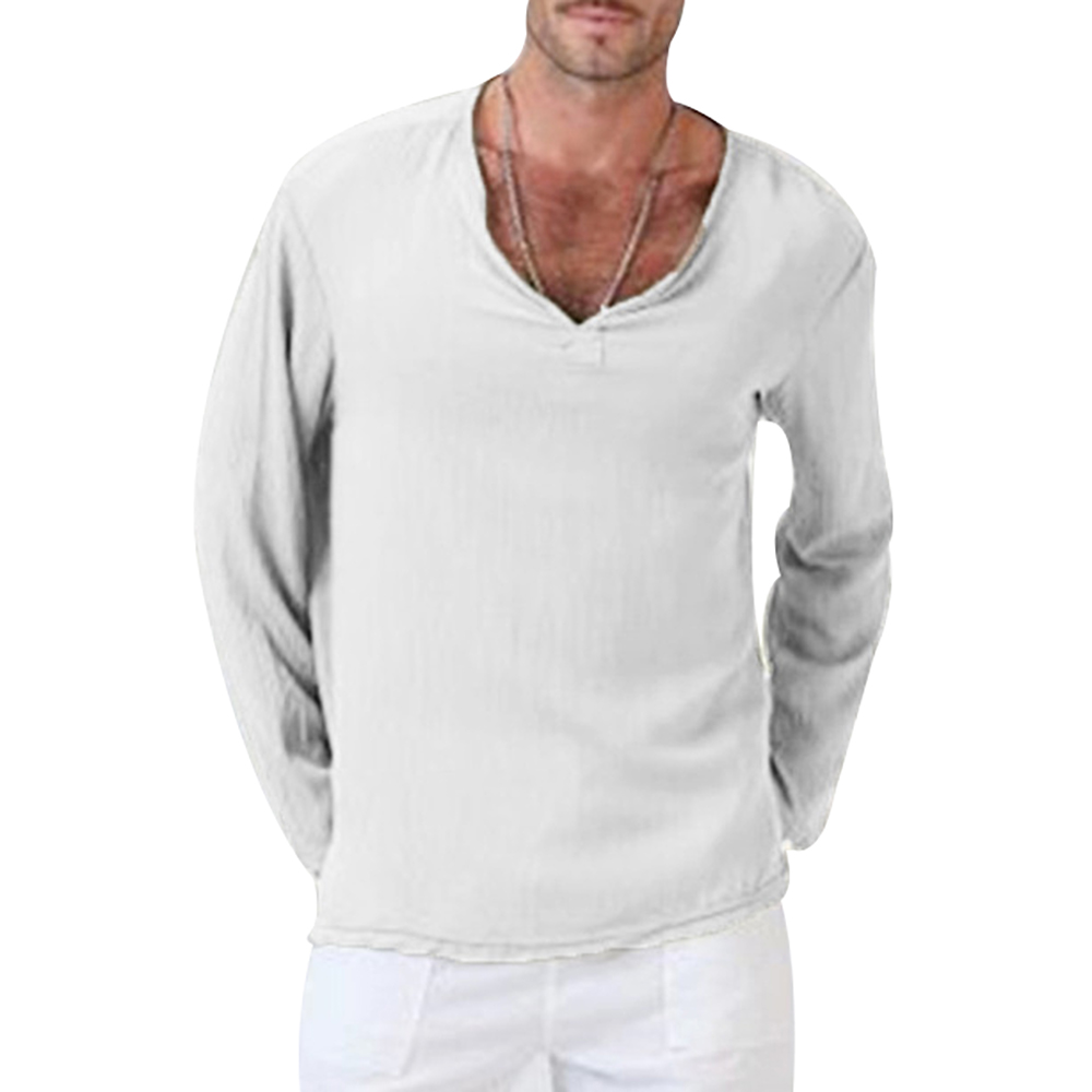 Men's Slim Pullover Long Sleeve Cotton And Linen Shirt In Solid Color Men's Fashion Solid Color Clothes Dropshipping Hot Sale