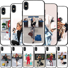 VOGUE Christmas Princess Girl Female boss coffee phone Case for iPhone 8 11 Pro X XS Max XR 5 5S 6 6S Plus 7 Cover(China)