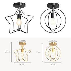 Image 2 - Creative Pentagram Iron Industrial Wind Ceiling Light Retro Circle E27 Black/Champagne Gold Lamp For Restaurant Bar Coffee Shop