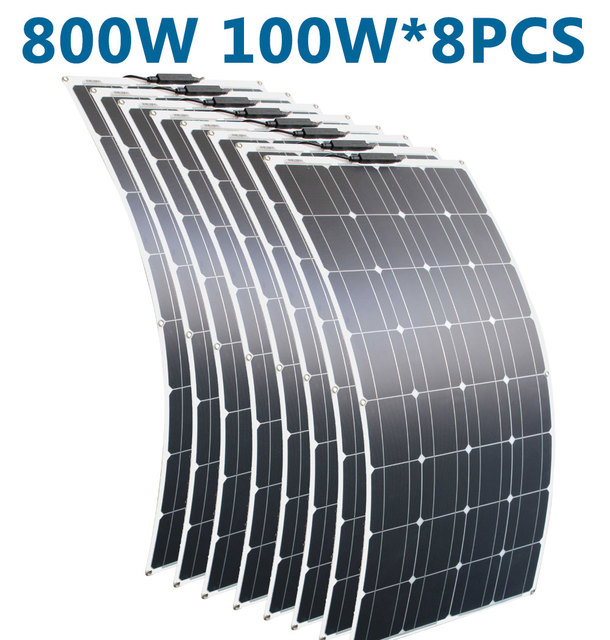 RG 100w 200w portátil 12v Panel Solar Flexible 16V 800W de las células de silicio monocristalino